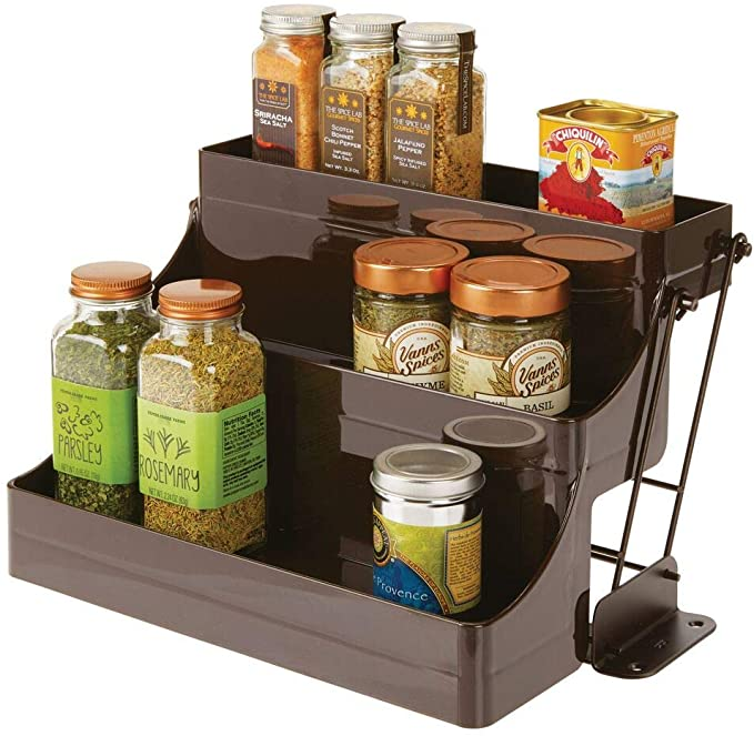 mDesign Plastic 3 Tier Pull Down Spice Rack - Easy Reach Retractable Large Capacity Kitchen Storage Shelf Organizer for Cabinet and Pantry - Holder for Seasoning Jars, Bottles, Shakers - Bronze