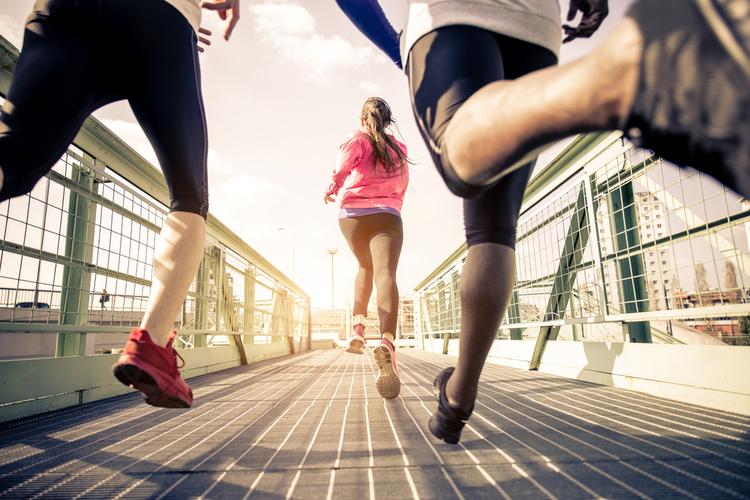 Sportive people training in a urban area.