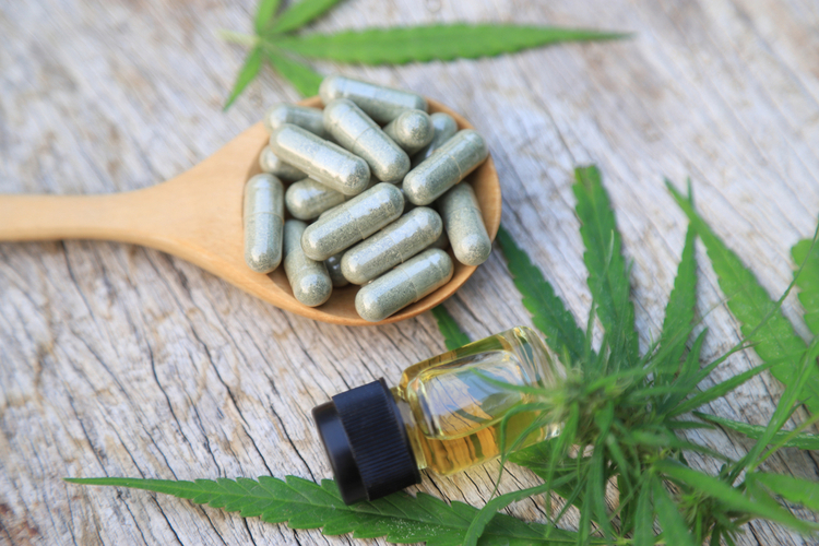 Hemp relief capsules with oil extraction from cannabis tree leaf.