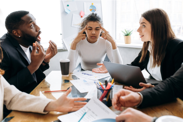 Overworked business partners on briefing meeting can't make a deal or come to agreement.