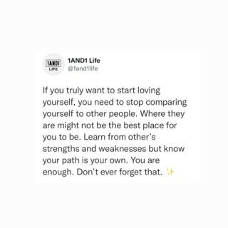 Focus on your own path. You are enough🙌🖤   #mentalhealthawareness #sefcaretips #1and1way